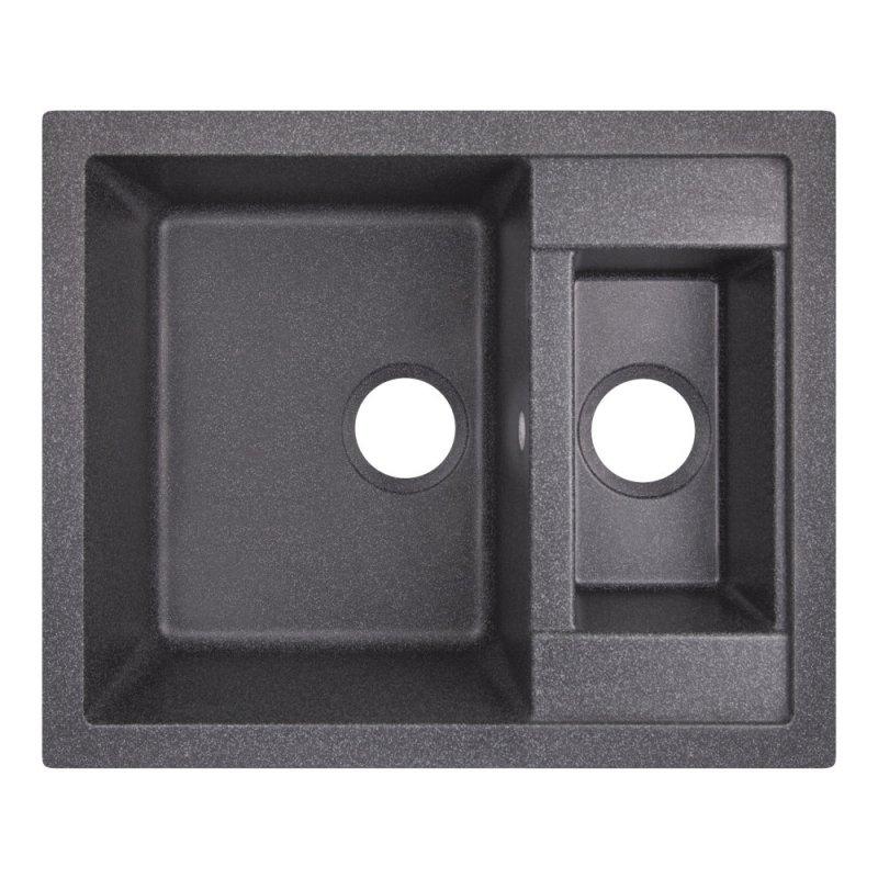 Кухонная мойка с дополнительной чашей Lidz 615x500/200 BLA-03 (LIDZBLA03615500200)