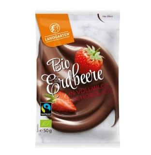 Купить Landgarten, Bio Erdbeere in Vollmilch-Schokolade, 50 г, Клубника в молочном шоколаде, органическая
