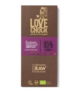 Купить Lovechock Blueberry & Hemp Seed, 70 г, Шоколад сырой, Черника-Конопляные семена, органическая, 85%