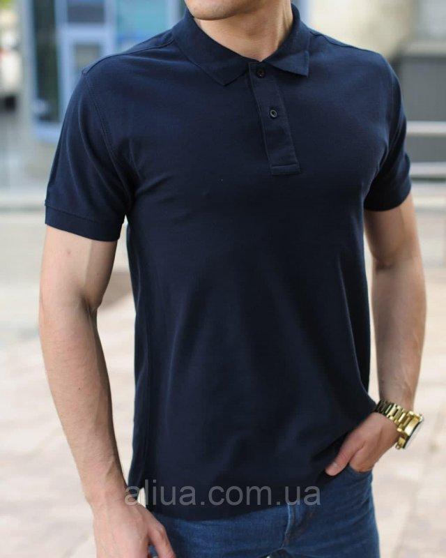 Купить Мужская футболка поло, однотонная классическая Темно-синяя