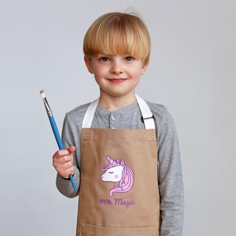 Купить Фартук детский Единорог бежевый подарки на день рождения