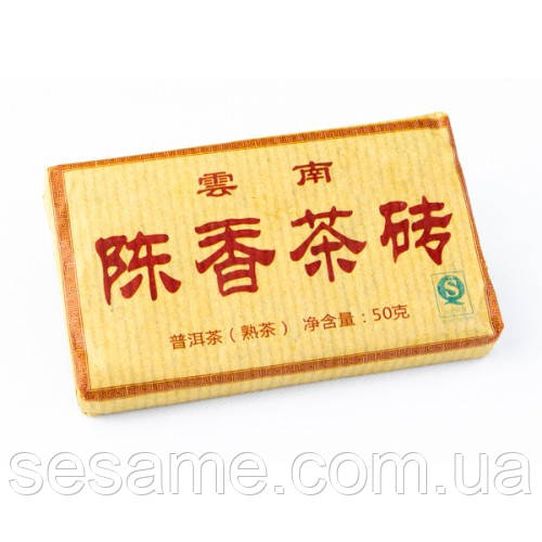 "Купить Чай шу пуэр ""Плитка Янтаря"" 50гр. 2008г. (Китай)"