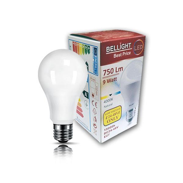 Лампа светодиодная низковольтная универсальная А60 DC 24-48V 9W 4000К Е27