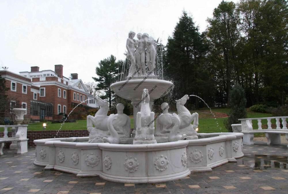 Мраморный фонтан с белого мрамора  03