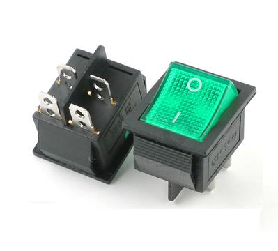 Купить Перемикач KCD4-201 250V колір зелений (4pin)