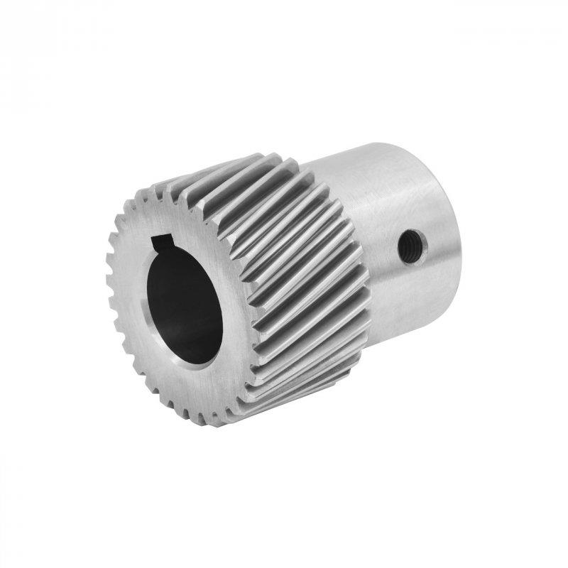 Купить Шестерня косозубая стальная модуль 1.25 под шпонку GHLM1.25-Z30-D20K для зубчатой рейки 30 зуб., диам. 20 мм