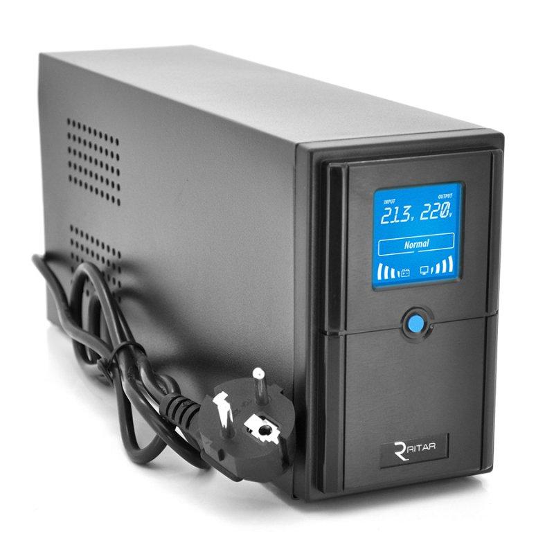 Купить ДБЖ Ritar E-RTM1000 (600W) ELF-D, LCD, AVR, 3st, 3xSCHUKO socket, 2x12V7Ah, metal Case. Q2 (405*195*285) 10 кг (340*120*190)