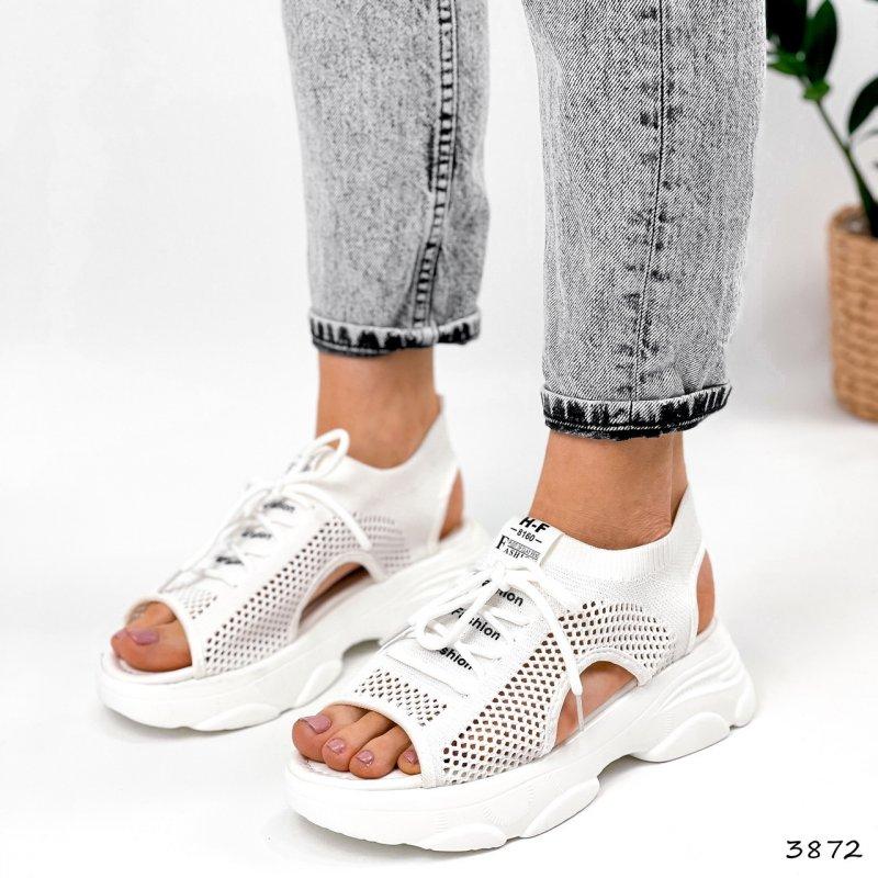 Купить Женские босоножки сандалии спортивные текстильные на платформе белые со шнуровкой