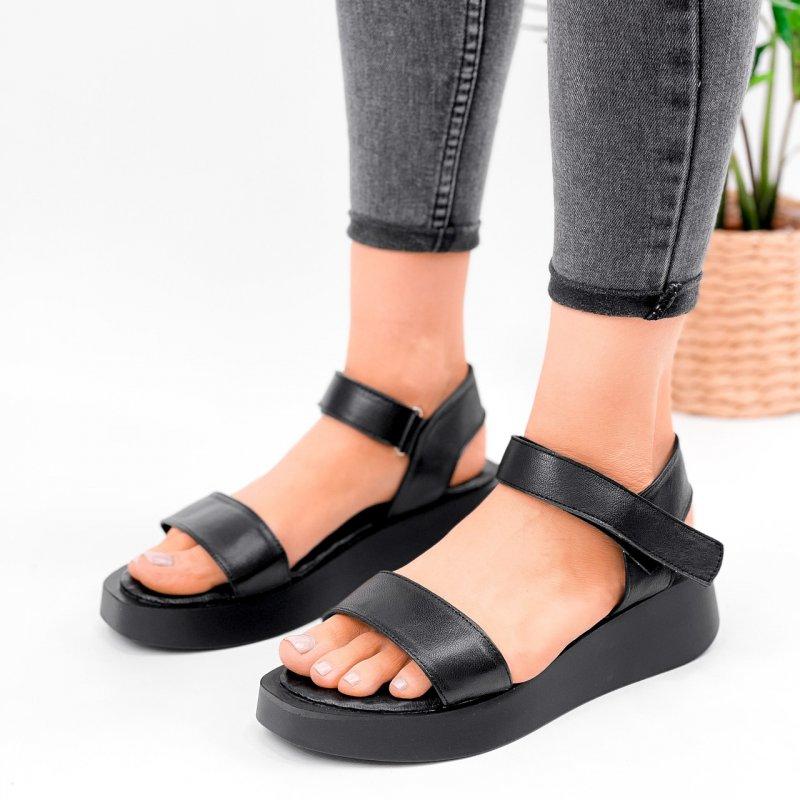 Купить Босоножки сандалии женские на платформе с ремешком на липучке черные натуральная кожа