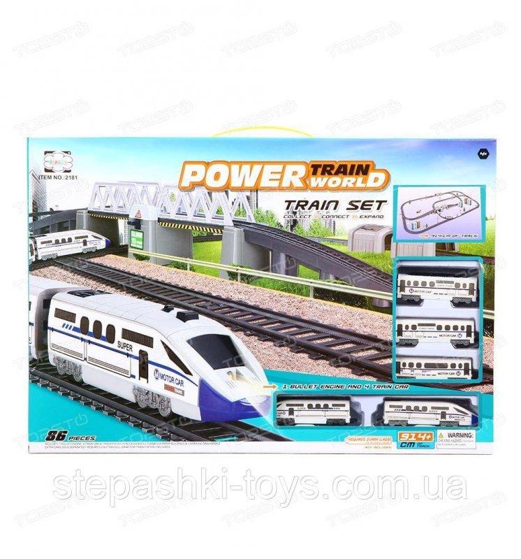 Купить ЖД 2181 Железная дорога с 2 локомотивами, вагонами, деревьями