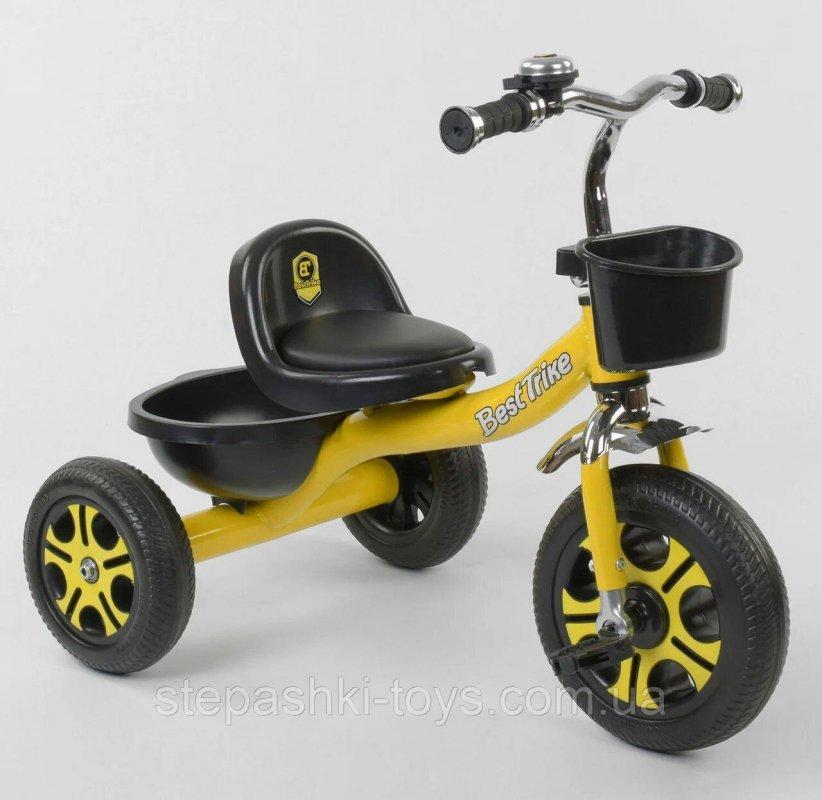 """Купить Детский Велосипед 3-х колёсный LM-9033 """"Best Trike"""" желтый, пено колесо, метал. рама, звоночек, 2 корзины,"""