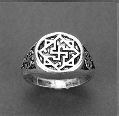 Купить Мужское женское кольцо бижутерия хром свастика одолень-трава каблучка славянское