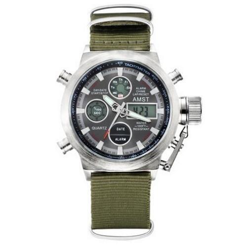 Купить AMST 3003 Silver-Black Green Wristband