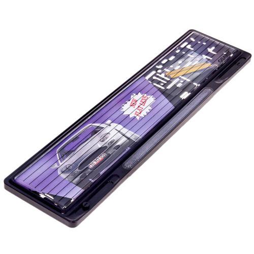 Купить Рамка під номер пластик/GUARD/чорна/відбивач біла 123-S