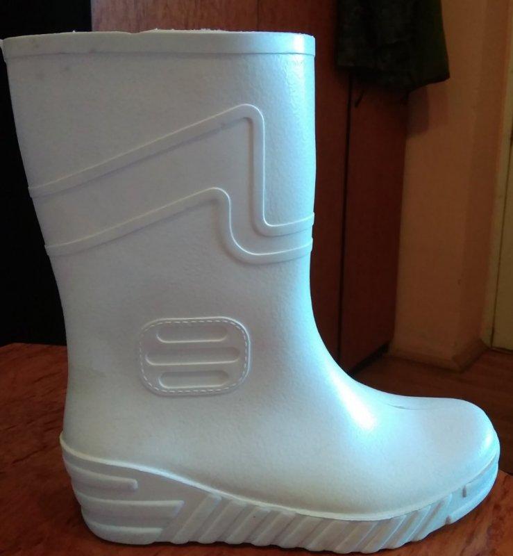 Купить Резиновая обувь : сапоги резиновые белые с ПВХ мужские с белой подошвой, 39 - 47 р, на выбор.