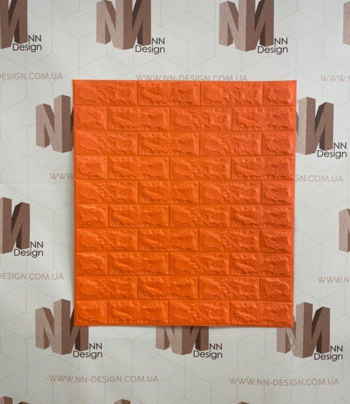 Купить Декоративная стеновая 3Д панель самоклейка под кирпич оранжевая 77*70 см 7 мм NNDesign