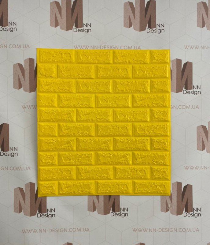 Купить Декоративная стеновая 3Д панель самоклейка под кирпич желтая 77*70 см 7 мм NNDesign