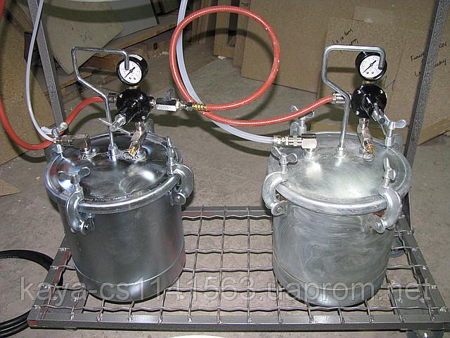 Бачки для подачи жидкого искусственного камня и растворителя, установки KaDi и Binks, Черкассы