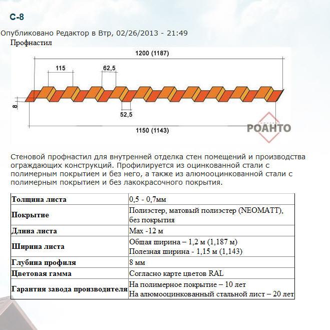 Профнастил окрашенный  от компании Роанто, Производитель профнастила в Киеве