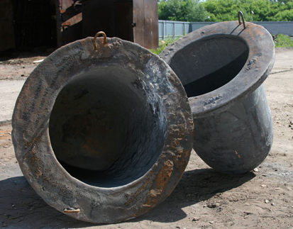 Crucible of 40-600 kg