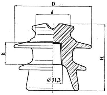 Изолятор штыревой высоковольтный фарфоровый ШФ10-I