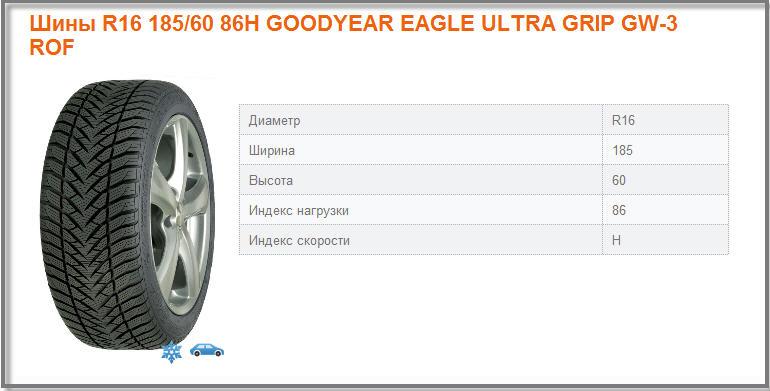 Зимние шины R16 185/60 86H GOODYEAR EAGLE ULTRA GRIP GW-3 ROF для легковых авто. Продажа, установка, хранение.
