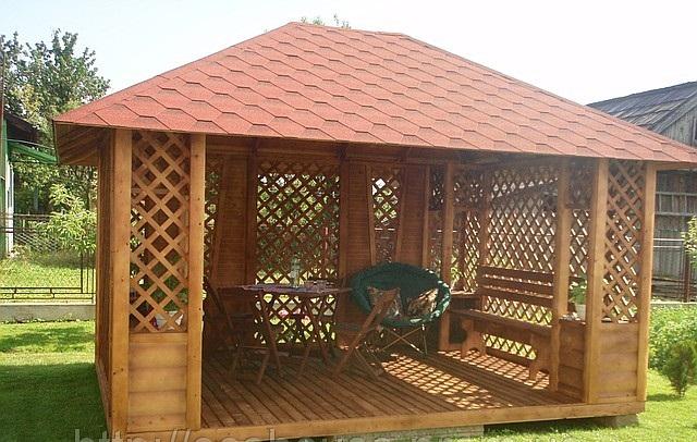 Домики садовые: деревянная беседка для частных усадеб