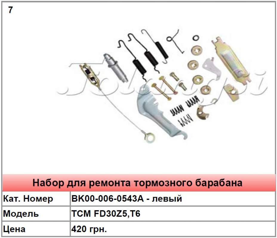 Запасные части для тормозного барабана TCM FD30Z5,T6