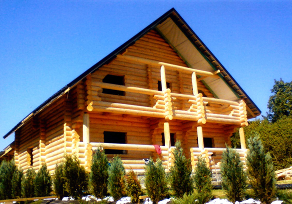 Fabrication and installation of wooden houses, baths, pavilions of the logs