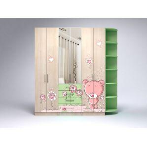 Шкафы Комплект шкафов R №2. Цвет-Ясень Ненси песочный + УФ-печать/Пастельно-зеленый + зеркало