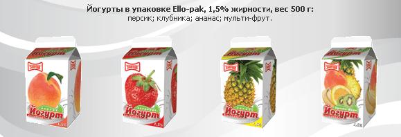 """Йогурты персик; клубника; ананас; мульти-фрут в упаковке Ello-pak, 1,5% жирности, вес 500 гр, легкоусваиваемый молочный продукт пр-во ТМ """"Злагода"""""""