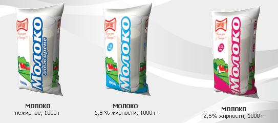"Молоко нежирное 1,5%, 2,5% жирности, весом 1000 гр, пр-во ТМ ""Злагода"""