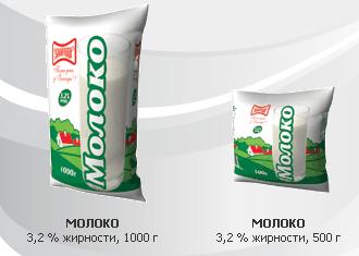 """Молоко 3,2% жирности, весом 500 и 1000 гр, пр-во ТМ """"Злагода"""""""