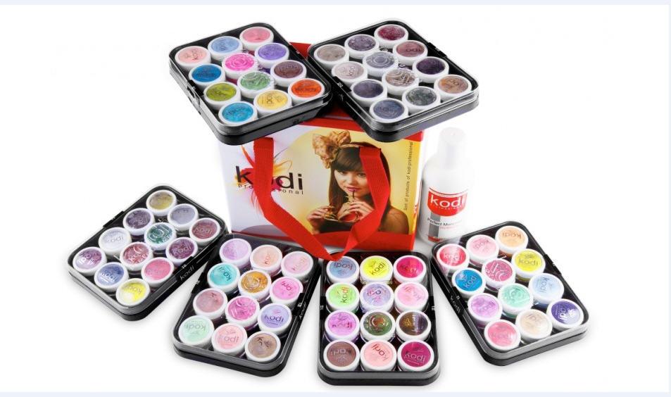 Набор цветных акрилов в чемодане 6 коллекций + мономер 250мл Kodi professional