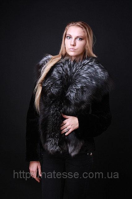 Шуба жилет из финской чернобурки и мутона рукава съемные silver fox and mouton convertible fur coat vest