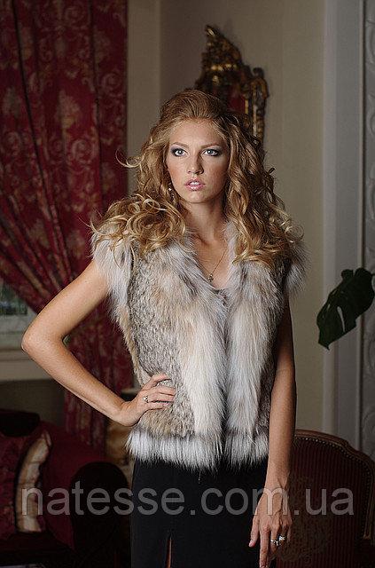 Жилет жилетка из рыси канадской, длина 55 см  Canadian lynx vest, length=55 cm