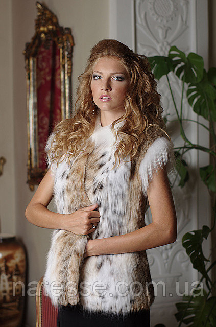 Жилет жилетка из рыси канадской  Canadian lynx fur vest gilet waist coat, length=67 cm