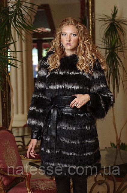 Меховое пальто из черной лисы и чернобурки