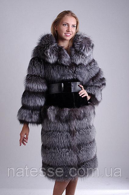 Шуба полушубок из чернобурки и бобра silver fox fur over coat