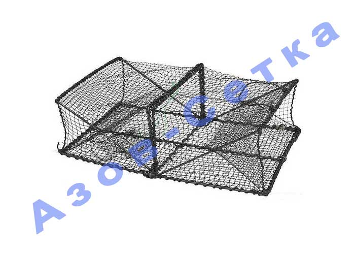 Раколовка складная (квадрат) на 2 входа, размер 60*45*20 см
