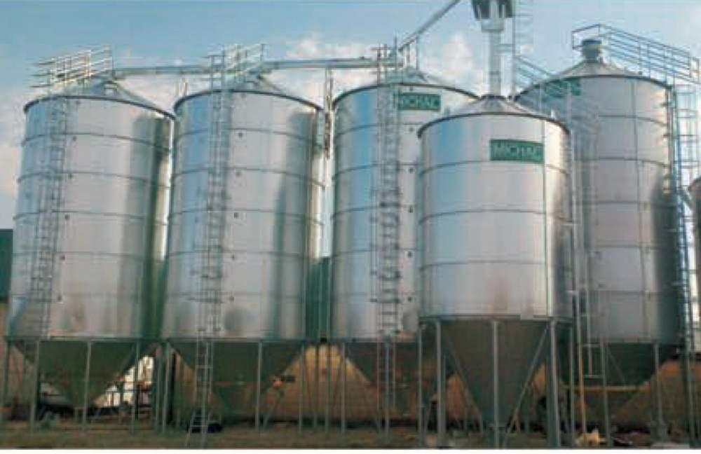 Силоса хранения зерна с конусным дном