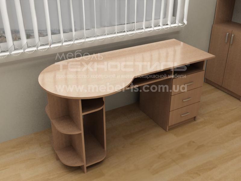 Стол компьютерный с полкой и ящиками (П 563)