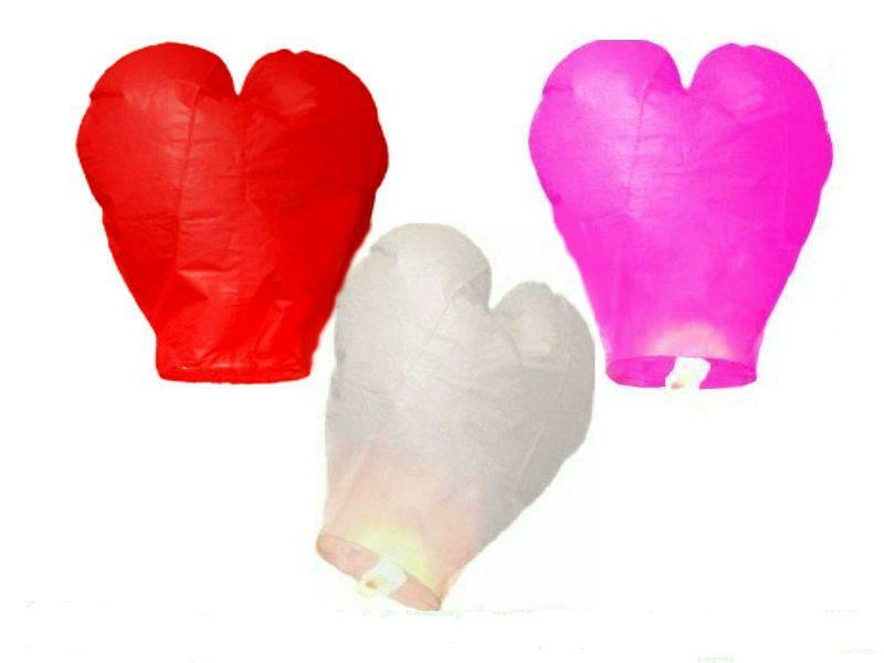 Купить Комплект небесных фонариков сердец с 3 шт.