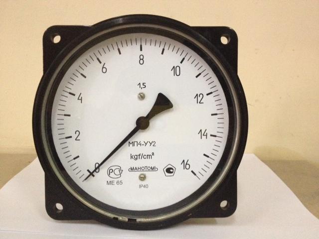 Манометр, вакуумметр, мановакуумметр с осевым присоединением штуцера МП4-У-ОШ, ВП4-У-ОШ, МВП4-УОШ