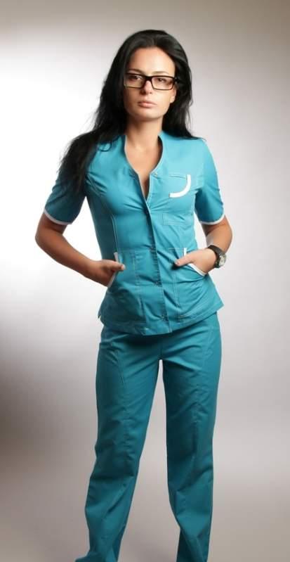 Купить Медицинский костюм женский голубой ХБ