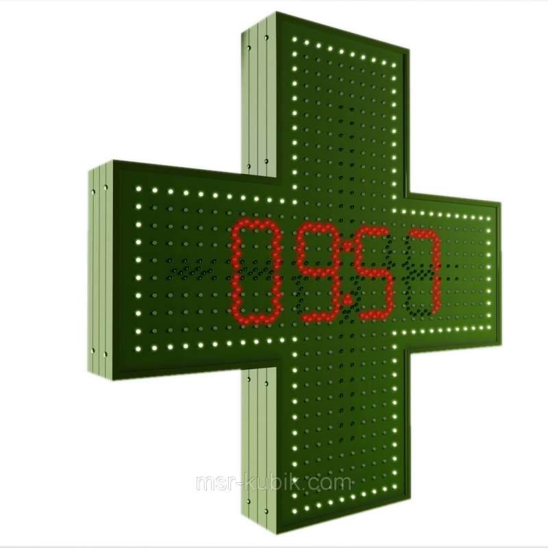 Купить Аптечный крест 750х750 с часами светодиодный односторонний