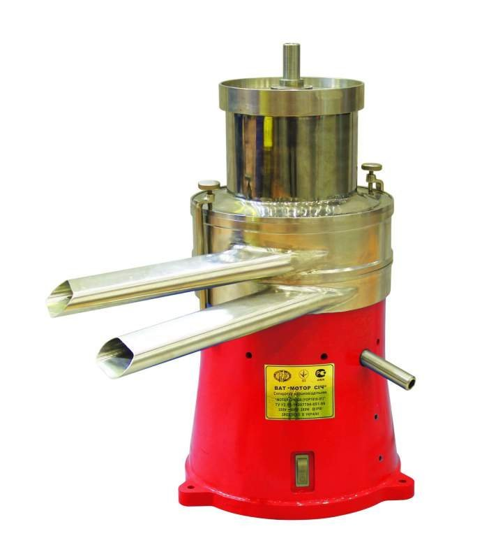 Сепаратор молочный промышленный «Мотор Сич - 500» центробежный тарельчатого типа предназначен для разделения цельного молока на сливки и обезжиренное молоко с одновременной очисткой от механических примесей и загрязнений