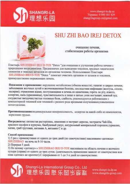 "Buy Medical plaster for clarification of a liver of Shu Zhi Bao Irej D-Tox ""Detox"