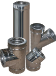 Дымоход двустенный из нержавеющей стали 0,5 мм d=100/160 мм в оцинкованном кожухе