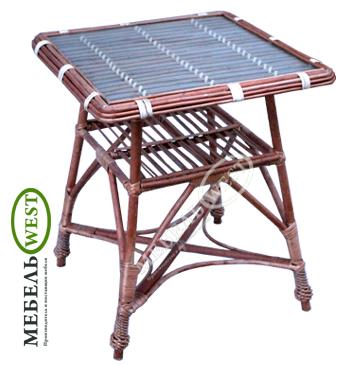 Плетеная мебель из лозы, Стол плетеный со стеклом